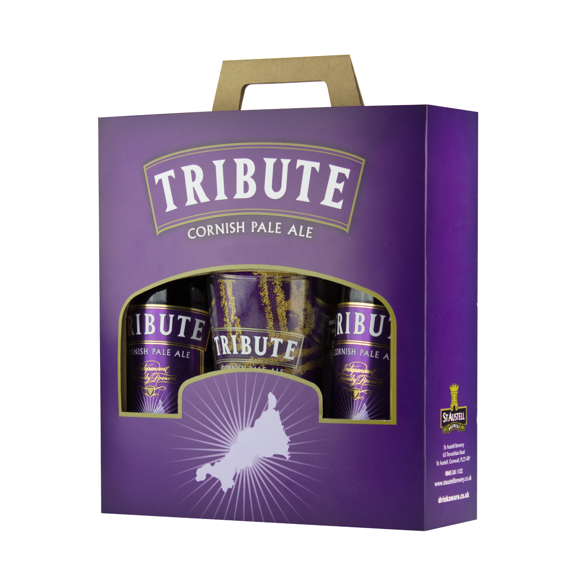 Tribute glass and bottles gift pack